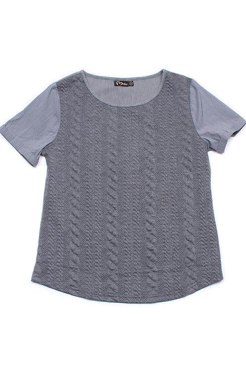 Embossed Texture Patterned Raglan Sleeve Blouse GREY (Ladies' Top)
