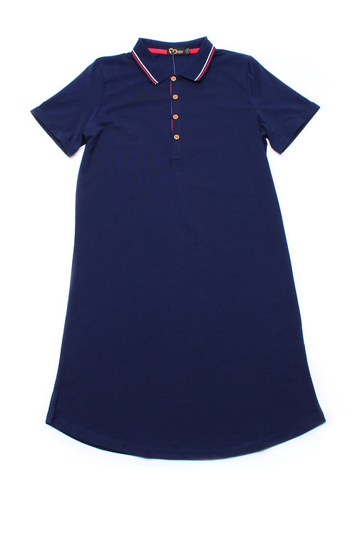 Twin Tipped Polo Shift Dress NAVY (Ladies' Dress)