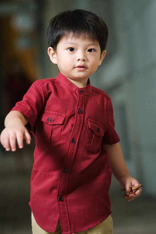 Brushed Cotton Twin Pocket Short Sleeve Shirt RED (Boy's Shirt)