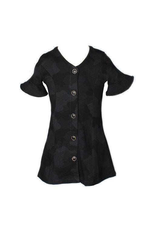 Black Camo Print Button Down Dress BLACK (Girl's Dress)