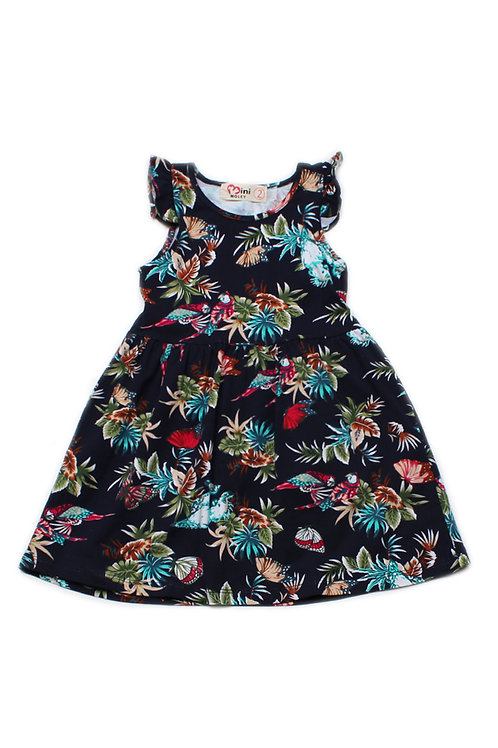 Floral Birds Print Dress BLACK (Girl's Dress)