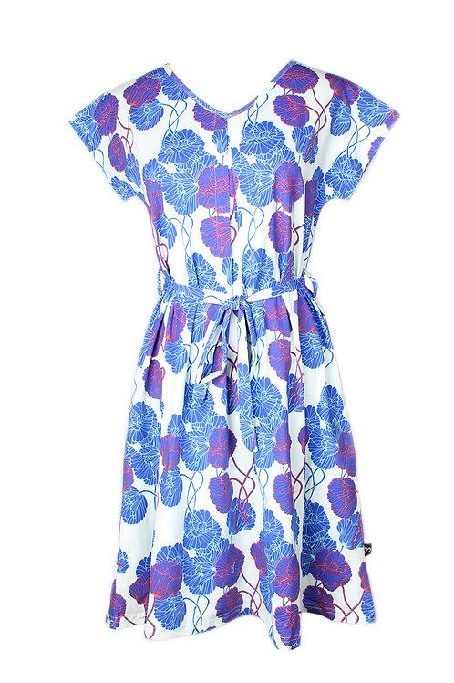 Neon Peony Print Flare Dress CYAN (Ladies' Dress)