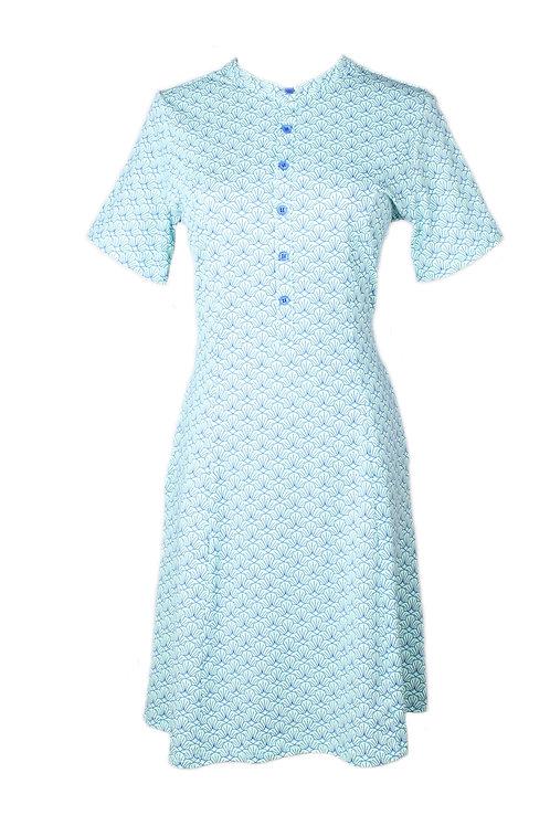 Seashell Print Half-Button Down Dress BLUE (Ladies' Dress)
