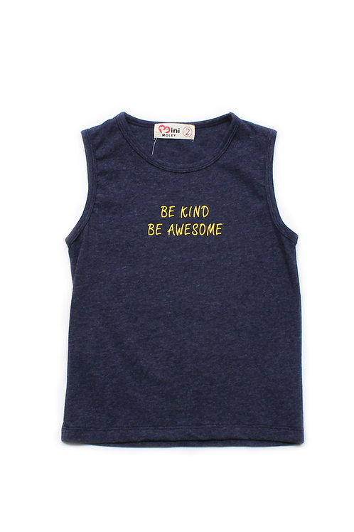 BE KIND BE AWESOME Singlet NAVY (Boy's Singlet)