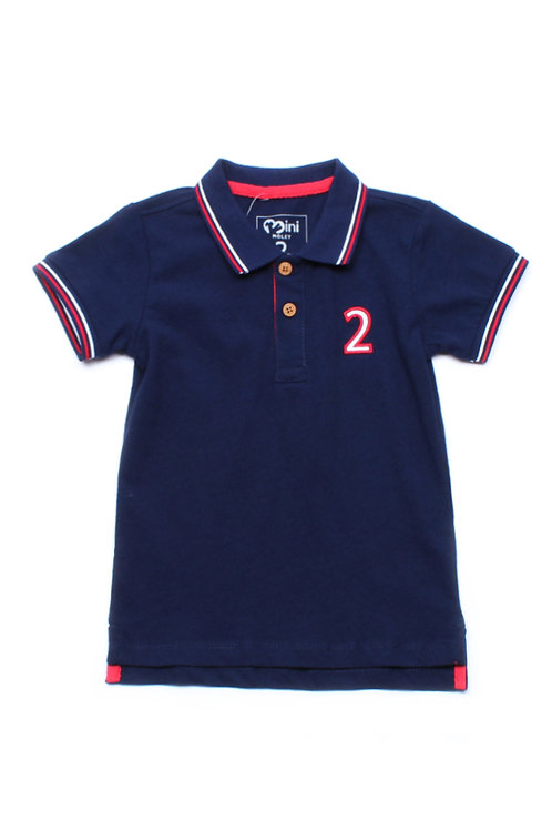 Twin Tipped Polo T-Shirt NAVY (Boy's T-Shirt)