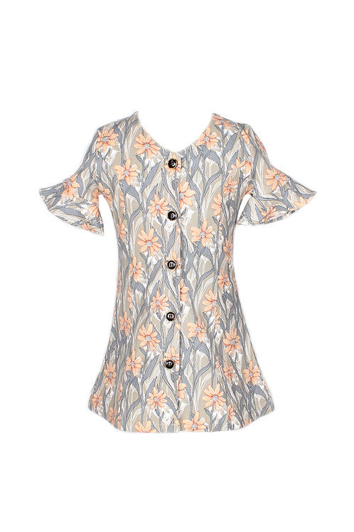 Floral Print Button Down Dress GREY (Girl's Dress)
