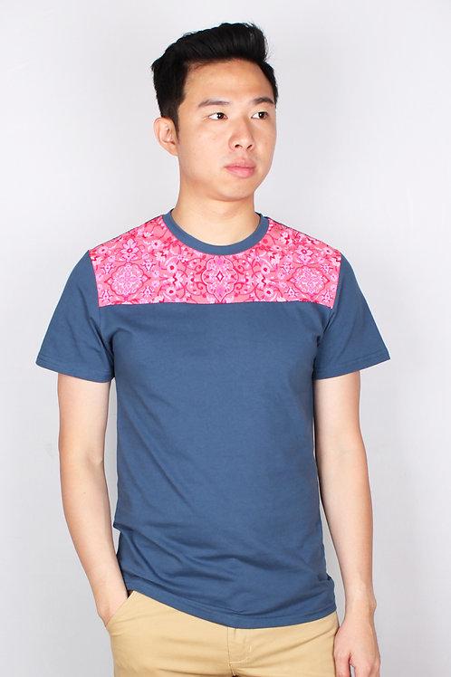 Floral Print Panel T-Shirt BLUE (Men's T-Shirt)