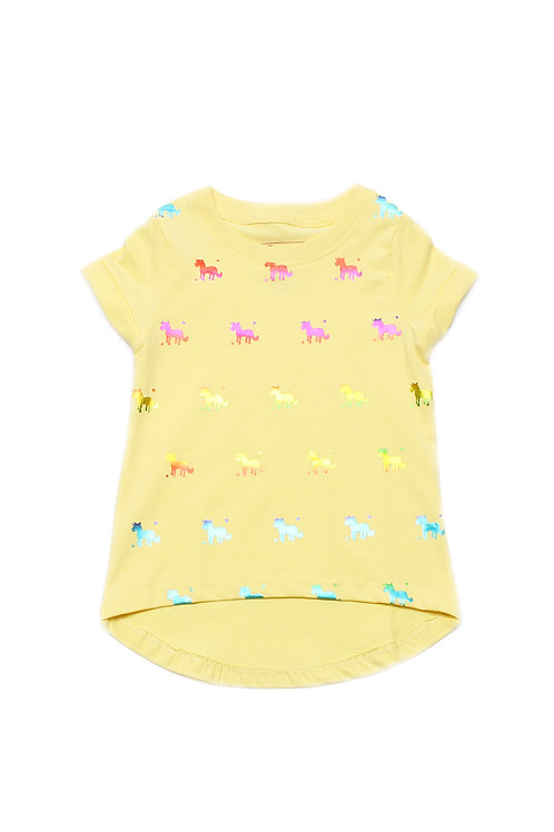 Shiny Psychedelic Unicorns Print T-Shirt YELLOW (Girl's Top)