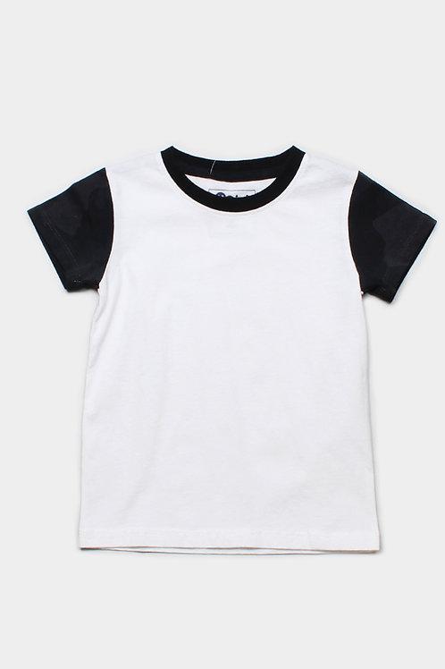 Black Camo Print Raglan T-Shirt WHITE (Boy's T-Shirt)