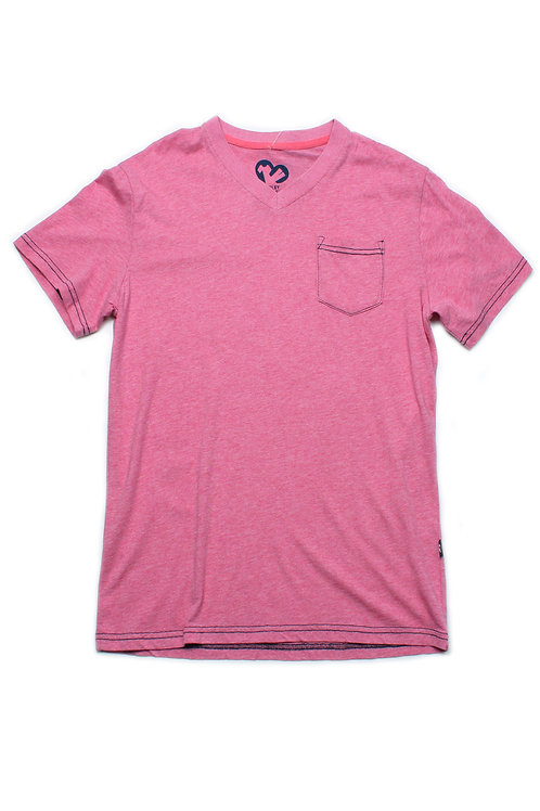 Contrast thread V-neck T-Shirt RED (Men's T-Shirt)