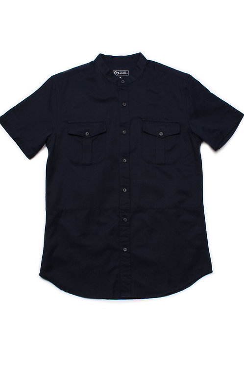 Brushed Cotton Twin Pocket Short Sleeve Shirt NAVY (Men's Shirt)