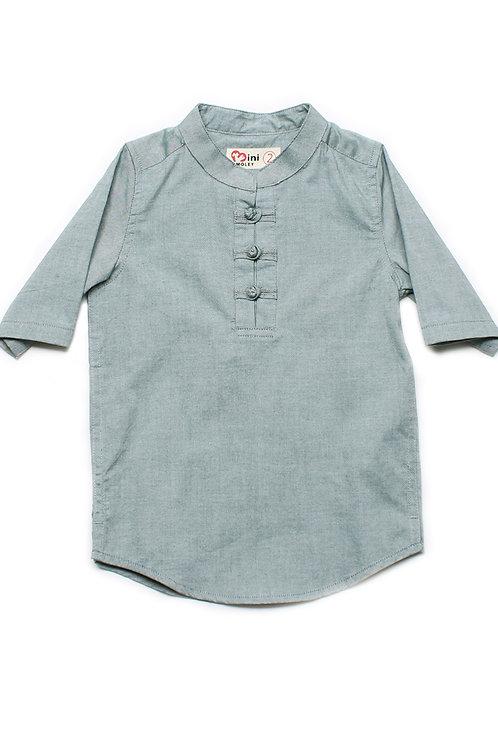 Oriental Style 3/4 Sleeve Shirt GREEN (Boy's Shirt)