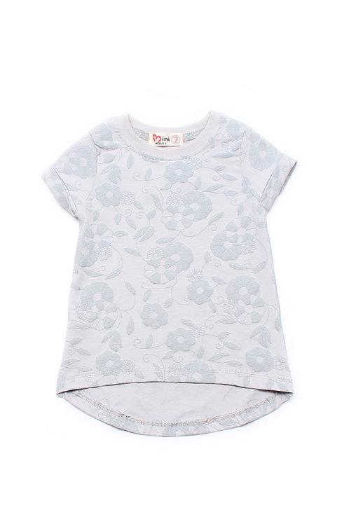 Embossed Floral Design T-Shirt GREY (Girl's Top)