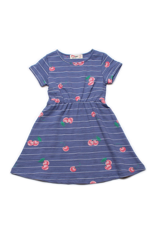 Cherries Print Skater Dress BLUE (Girl's Dress)
