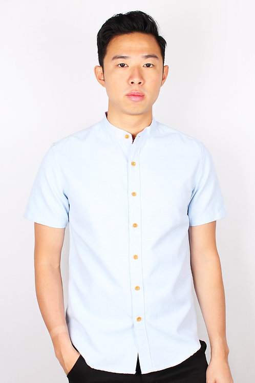 Brushed Cotton Classic Mandarin Collar Short Sleeve Shirt BLUE (Men's Shirt)