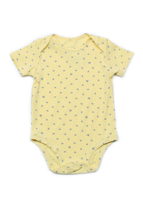 Hearts Print Romper YELLOW (Baby Romper)