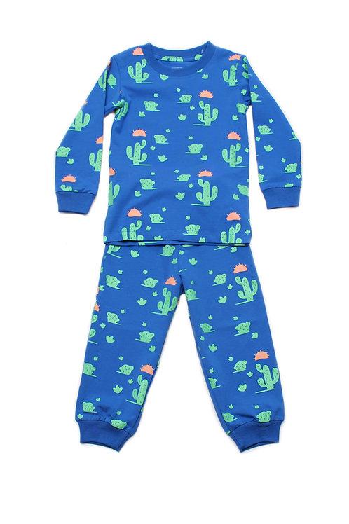 Cactus Print Pyjamas Set BLUE  (Kids' Pyjamas)