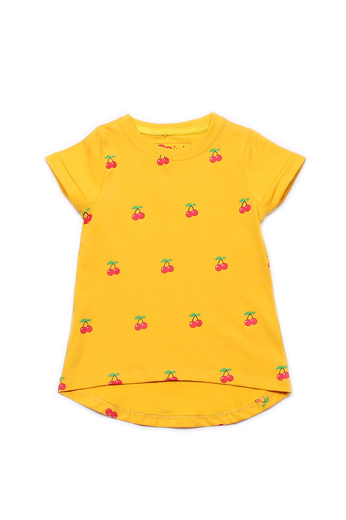 Cherry Print T-Shirt YELLOW (Girl's Top)