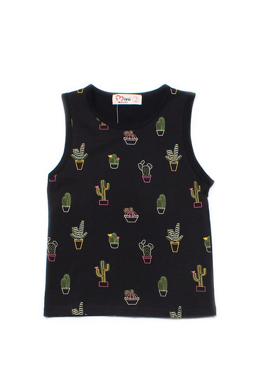 Cactus Print Singlet BLACK (Boy's Singlet)