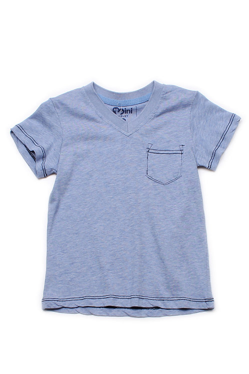 Contrast thread V-neck T-Shirt BLUE (Boy's T-Shirt)