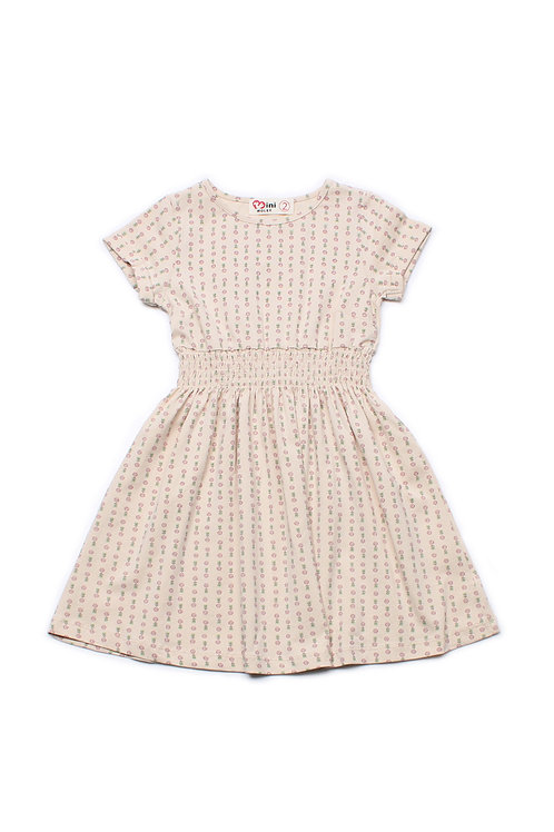 Design Print Skater Dress CREAM (Girl's Dress)
