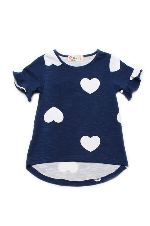 Hearts Print T-Shirt NAVY (Girl's Top)