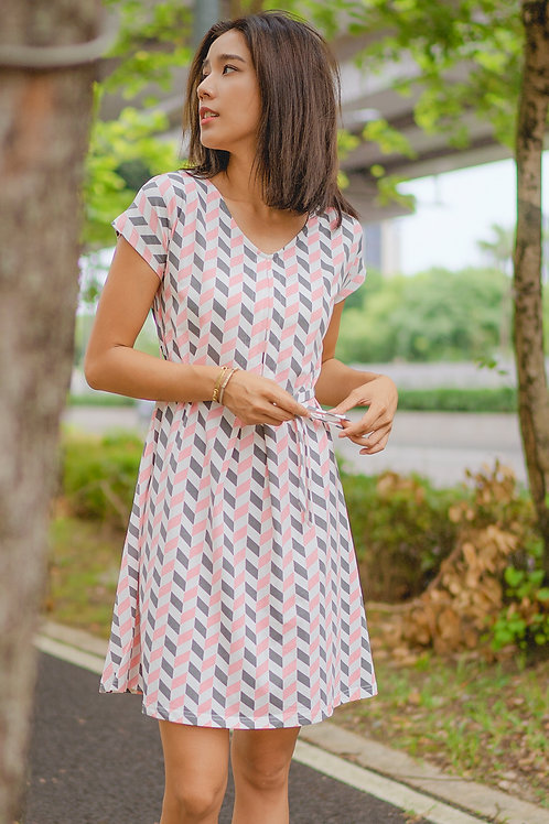 Geometric Chevron Print Flare Dress PINK (Ladies' Dress)