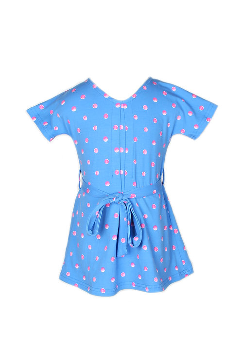 Water Coloured Polka Dot Print Flare Dress BLUE (Girl's Dress)