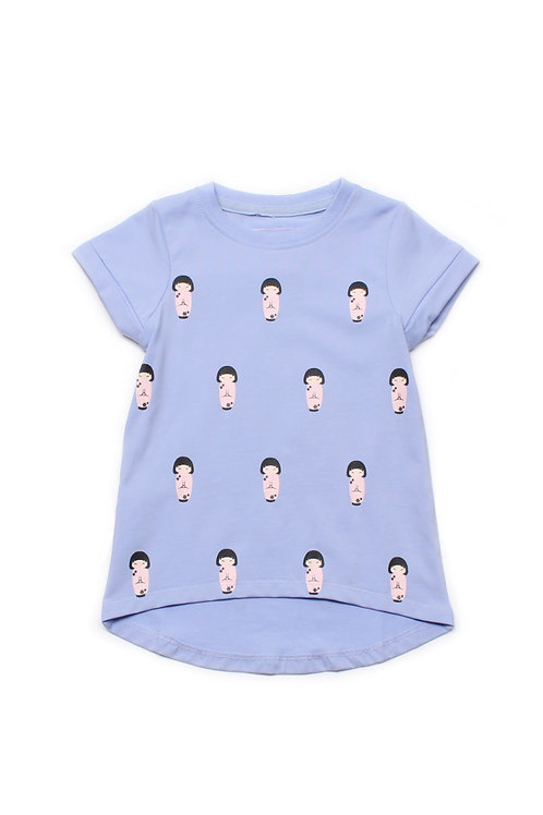 Japanese Doll Print T-Shirt PURPLE (Girl's Top)
