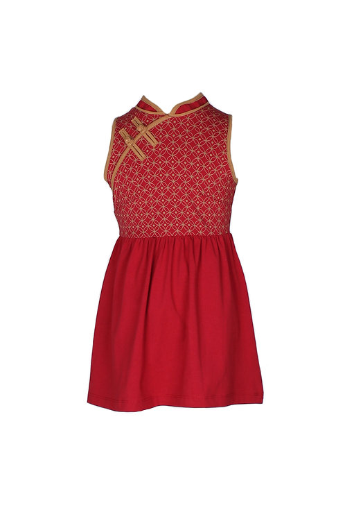 Oriental Rings Print Cheongsam Inspired Dress RED (Girl's Dress)