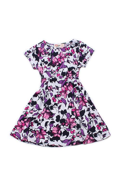 Floral Print Skater Dress WHITE (Girl's Dress)