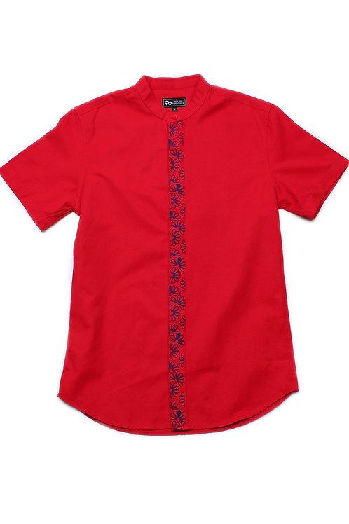 Floral Patterned Print Mandarin Collar Short Sleeve Shirt RED (Men's Shirt)