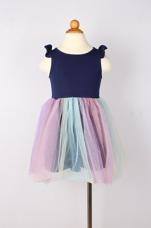 Rainbow Bubble Dress NAVY (Girl's Dress)