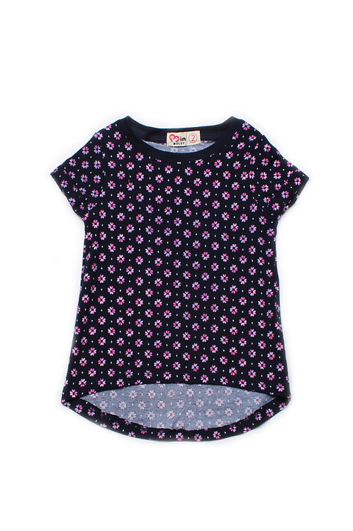 Floral Print T-Shirt NAVY (Girl's Top)