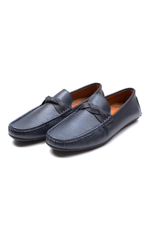 Twine Strap Premium Synthetic Leather Loafer NAVY (Men's Shoes)