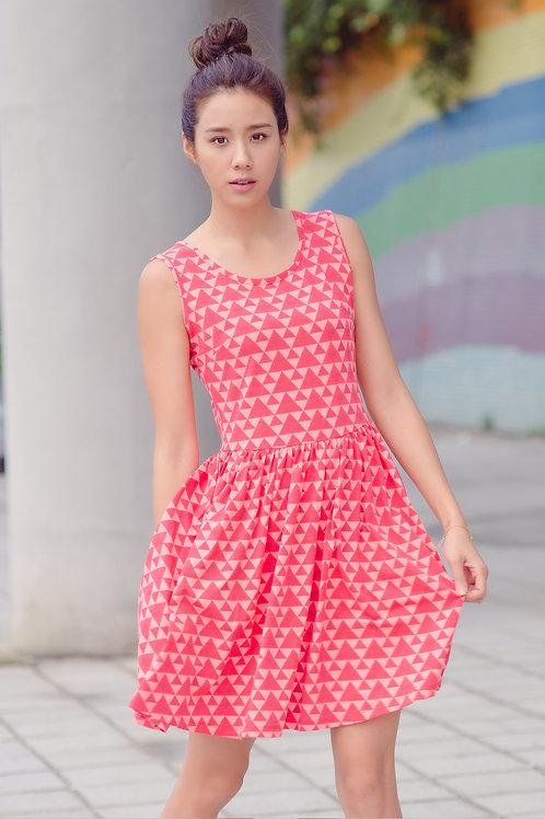 Geometric Triangle Mosaic Patterned Print Skater Dress RED (Ladies' Dress)