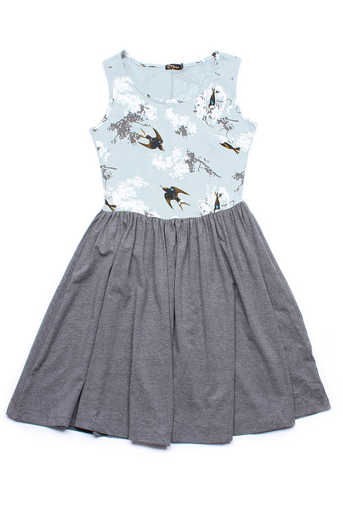 Birds and Embossed Floral Print Skater Dress GREEN (Ladies' Dress)