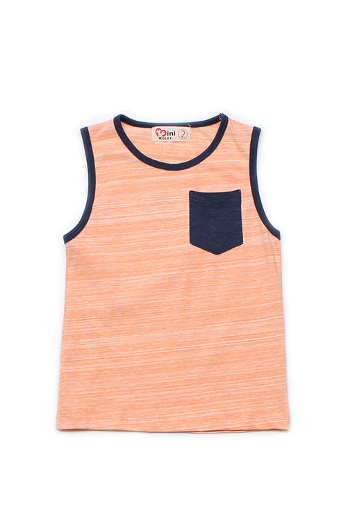 Contrast Pocket Singlet ORANGE (Boy's Singlet)