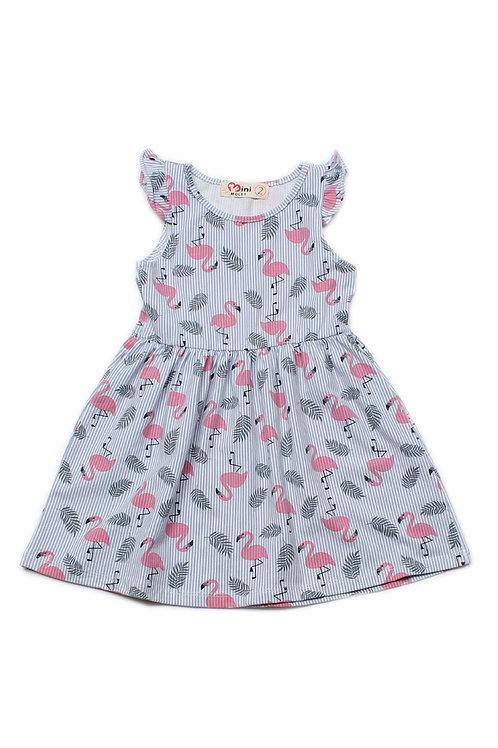 Stripe Flamingo Print Dress BLUE (Girl's Dress)