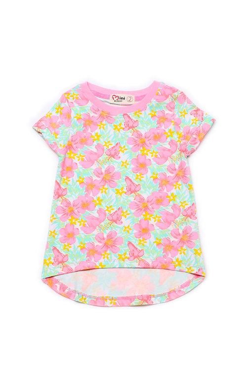 Floral Print T-Shirt GREEN (Girl's Top)
