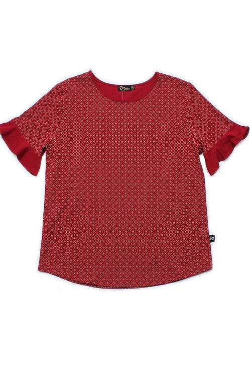 Oriental Rings Print Blouse RED (Ladies' Top)
