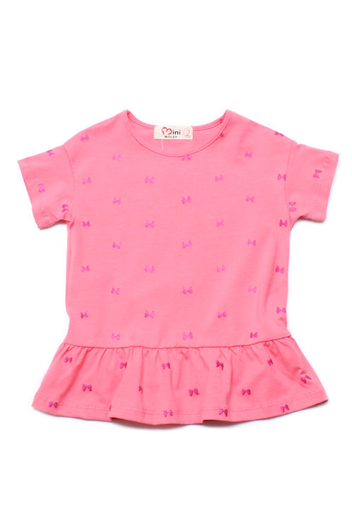 Glittered Ribbons Frill T-Shirt PINK (Girl's Top)