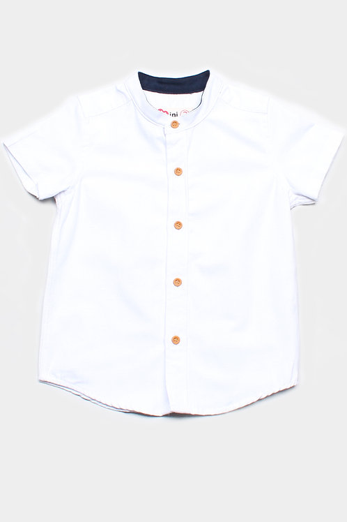 Brushed Cotton Classic Mandarin Collar Short Sleeve Shirt WHITE (Boy's Shirt)