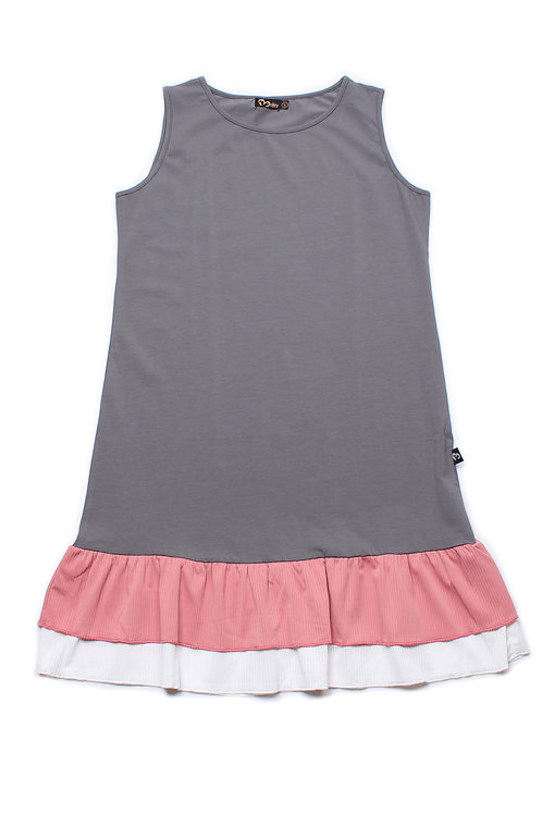 Tiered Ruffle Sleeveless Shift Dress GREY (Ladies' Dress)