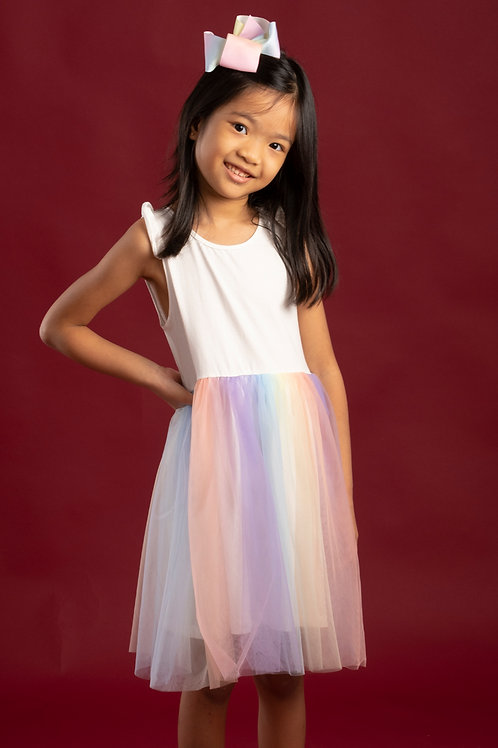 Rainbow Bubble Dress WHITE (Girl's Dress)