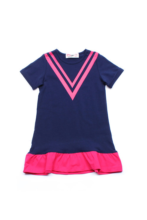 Chevron Design Shift Dress NAVY (Girl's Dress)