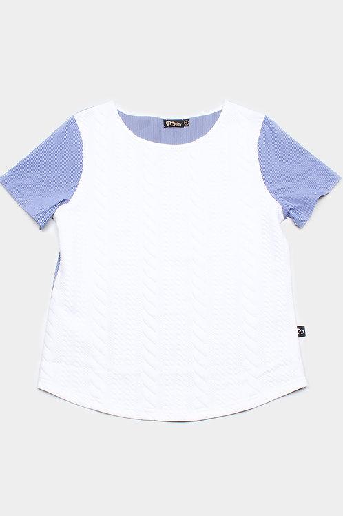 Embossed Texture Patterned Raglan Sleeve Blouse WHITE (Ladies' Top)