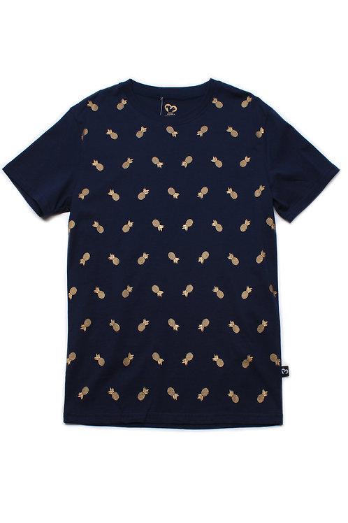 Pineapple Print T-Shirt NAVY (Men's T-Shirt)