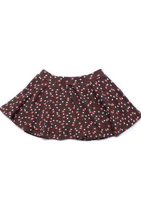 Hearts Print Skirt BROWN (Girl's Bottom)