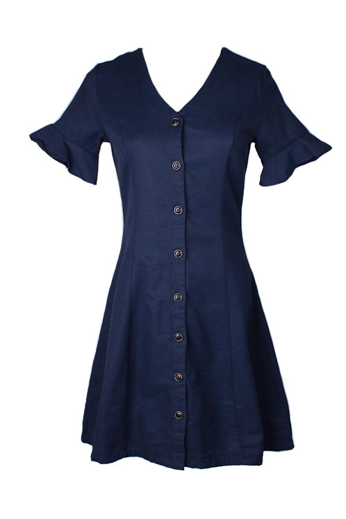 Brushed Cotton Button Down Dress NAVY (Ladies' Dress)